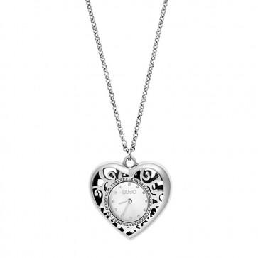 orologio a collana liu-jo a forma di cuore in acciaio con indici a pietre
