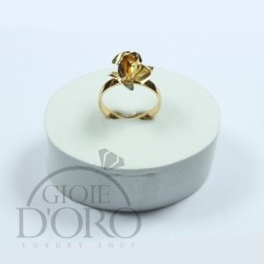 ANELLO ORO GIALLO 18 KT CON ROSA MADE IN ITALY