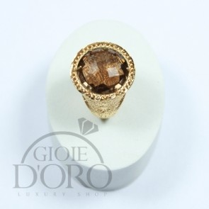 anello oro giallo 18 kt con cristallo fume made in italy