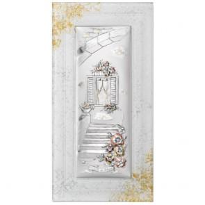 Quadro acca con doppio vetro murano, argento 925 e oro 24 carati