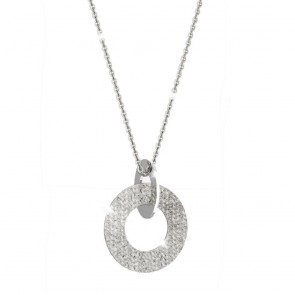 Collana donna Rebecca in bronzo, con doppio cerchio incrociato liscio e diamantato