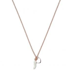 Collana donna Gioie d'oro in argento rosato con cornino smaltato bianco e cuoricino piatto