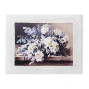 Quadro acca raffigurante un bouquet con farfalle in bassorilievo in argento 925