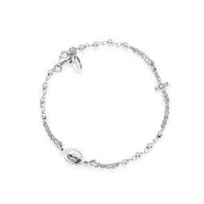 Bracciale rosario in argento con croce pavettata