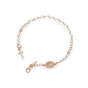 Bracciale donna rosario in argento rosato con medaglia pavettata