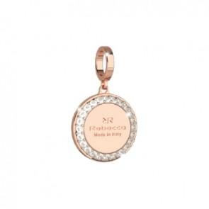 Pendente charm rebecca in bronzo con inciso il logo di rebecca