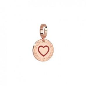 charm pendente rebecca in bronzo con cuore inciso