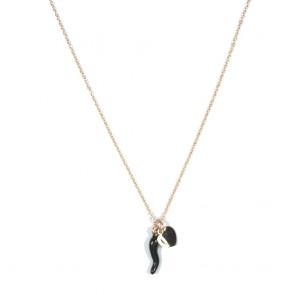 Collana donna Gioie d'oro in argento rosato con cornino smaltato nero e cuoricino piatto