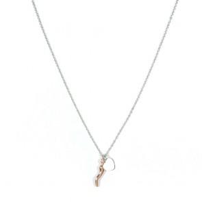 Collana donna Gioie d'oro in argento con cornino rosato e cuoricino piatto