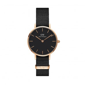 Orologio DW cassa 28 con cinturino in cordura nera e quadrante nero rosato