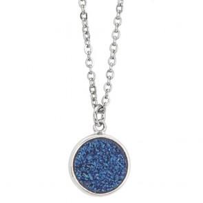 Collana donna boccadamo, in acciaio con druzy stone blu