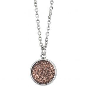 Collana donna boccadamo, in acciaio con druzy stone color bronzo
