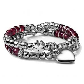 Bracciale donna MCS in argento con agata rubino, cuore pendente e quadrifoglio passante