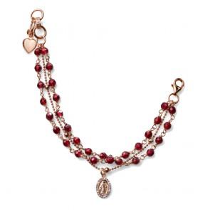 Bracciale MCS in argento rosato e pietre agata rubino