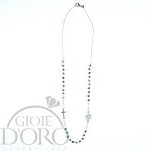Girocollo in oro bianco 18 carati a rosario con pietre nere