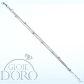 Bracciale in oro bianco e rosa 18 carati a tre fili con sfere diamantate
