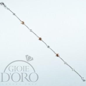 Bracciale in oro bianco e rosa 18 carati con zirconi e stelle