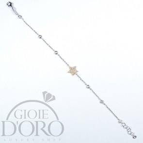 Bracciale in oro bianco 18 carati con zirconi e stella oro rosa tempestata di zirconi