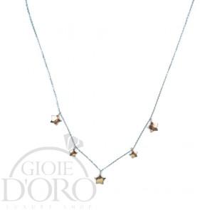 Girocollo in oro bianco 18 carati con stelle oro rosa 18 carati