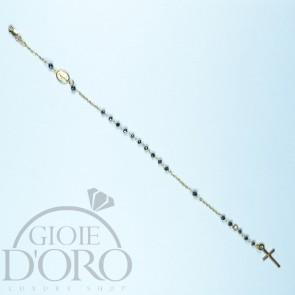 Bracciale a rosario in oro giallo 18 carati con pietre nere