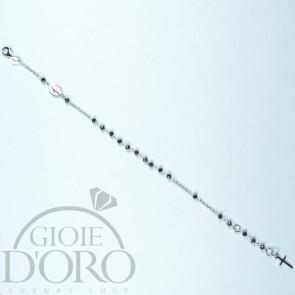 Bracciale a rosario in oro bianco 18 carati con pietre nere
