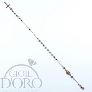 Bracciale a rosario in oro rosa 18 carati con pietre nere