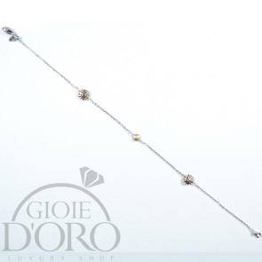 Bracciale oro bianco 18 carati maglia diamantata