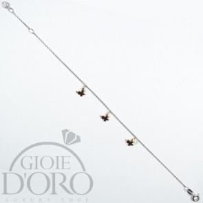 Bracciale in oro bianco 18 carati con farfalle in oro rosa