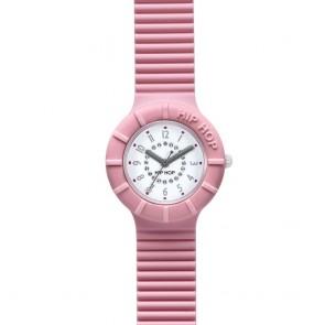 Orologio Hip Hop in silicone rosa chiaro e quadrante con zirconcini