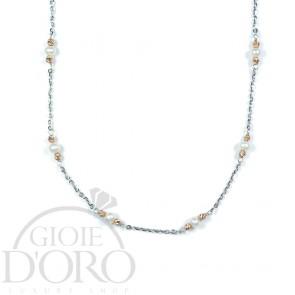 Girocollo in oro bianco 18 kt con perle e sfere diamantate in oro rosa