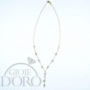 Girocollo con lavorazioni diamantate in oro giallo e bianco 18 carati