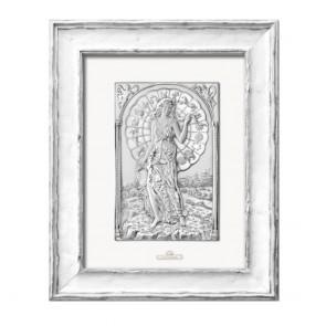 Quadro Acca raffigurante la fortuna, con lastra in argento 925 in bassorilievo