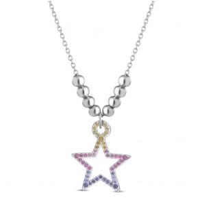 Collana donna Ops, in metallo e acciaio con ciondolo a stella tempestata di cristalli colorati