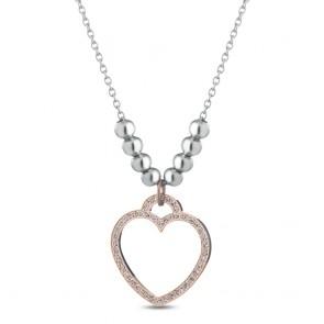 Collana donna Ops, in metallo e acciaio con ciondolo a cuore tempestata di cristalli