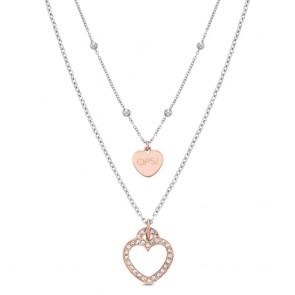 Collana donna Ops, doppio filo con ciondoli a cuore rosato