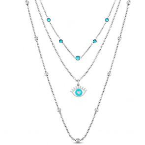 Collana donna Ops, tre fili con cristalli azzurri e occhio greco
