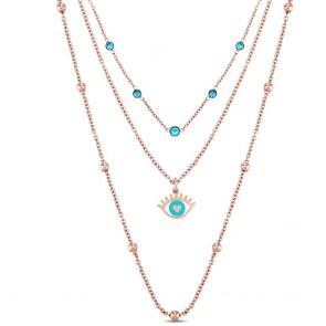 Collana donna Ops, tre fili rosati con cristalli azzurri e occhio greco