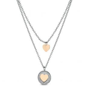Collana donna Ops doppio filo con cuore ops! e cuore in medaglia glitterata