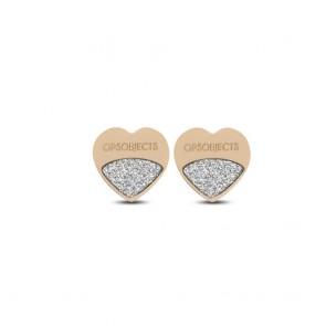 Orecchino ops objects donna con cuore in acciaio e microcristalli