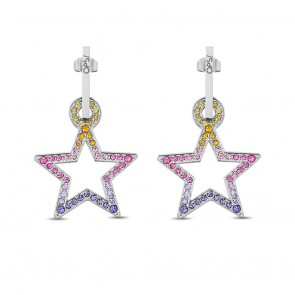 Orecchini donna Ops in acciaio a forma di stella tempestata da cristalli colorati