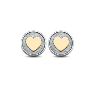 Orecchini donna Ops a bottoncino con cuore e microcristalli