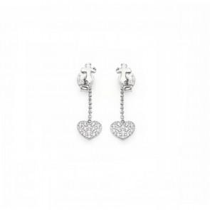 Orecchini donna amen in argento 925 pendente cuore con zirconi