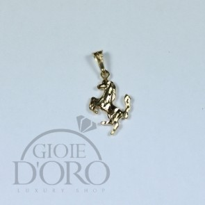 PENDENTE CAVALLO RAMPANTE IN ORO GIALLO 18 KT MADE IN ITALY