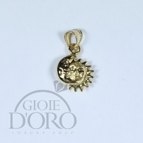 PENDENTE IN ORO GIALLO 18 KT SOLE E LUNA MADE IN ITALY