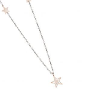 Collana boccadamo donna in acciaio rodiato con stelle rosate