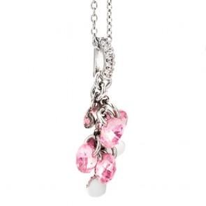 Collana Boccadamo donna in argento rodiato, contromaglia zirconata, zirconi rosa e charms cuore
