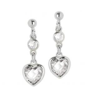Orecchini donna Boccadamo in argento con pendente a cuore zircone crystal