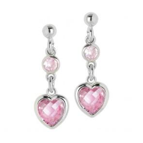 Orecchini donna Boccadamo in argento con pendente a cuore zircone crystal rosa