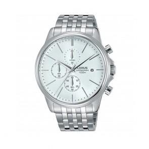 orologio uomo Lorus con datario e cronografo, quadrante bianco