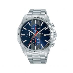 Orologio uomo sportivo Lorus con quadrante e ghiera blu più cronografo